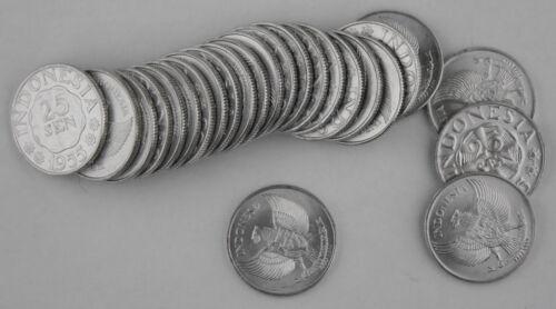 (100) Pieces Indonesia 1955 25 Sen Coin GEM BU KM #6