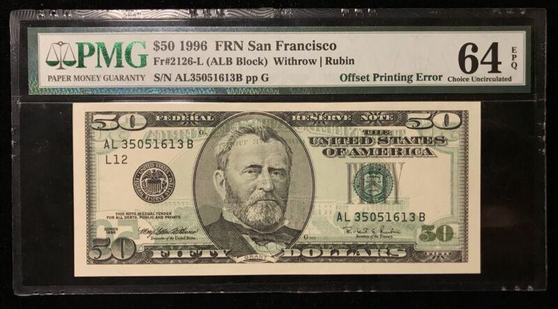 1996 $50 FEDERAL RESERVE NOTE ERROR FULL OFFSET PMG 64EPQ *RARE BID HEAD ERROR!