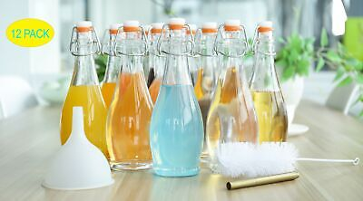 Mockins Set of 12 | 17 Oz. Glass Bottle Set with Swing Top Stoppers