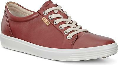 fe4acc12b09e ECCO SOFT 7 Ladies Womens Leather Casual Low Top Retro Trainers Fired Brick