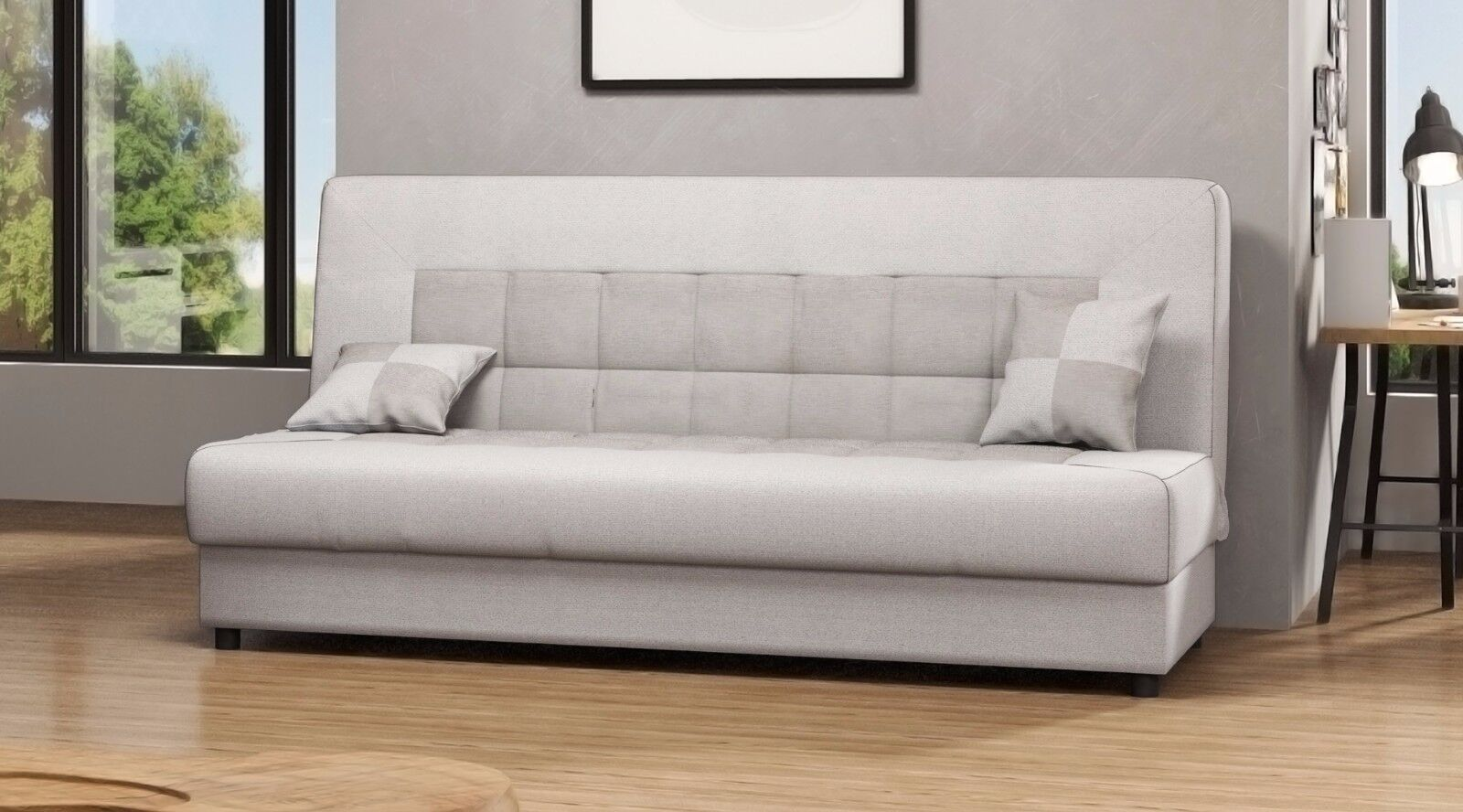 torino couch sofa 3sitzer mit kissen webstoff farbwahl schlaffunktion grau eur 209 00. Black Bedroom Furniture Sets. Home Design Ideas
