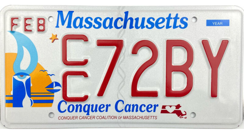 MINT Massachusetts CONQUER CANCER License Plate!