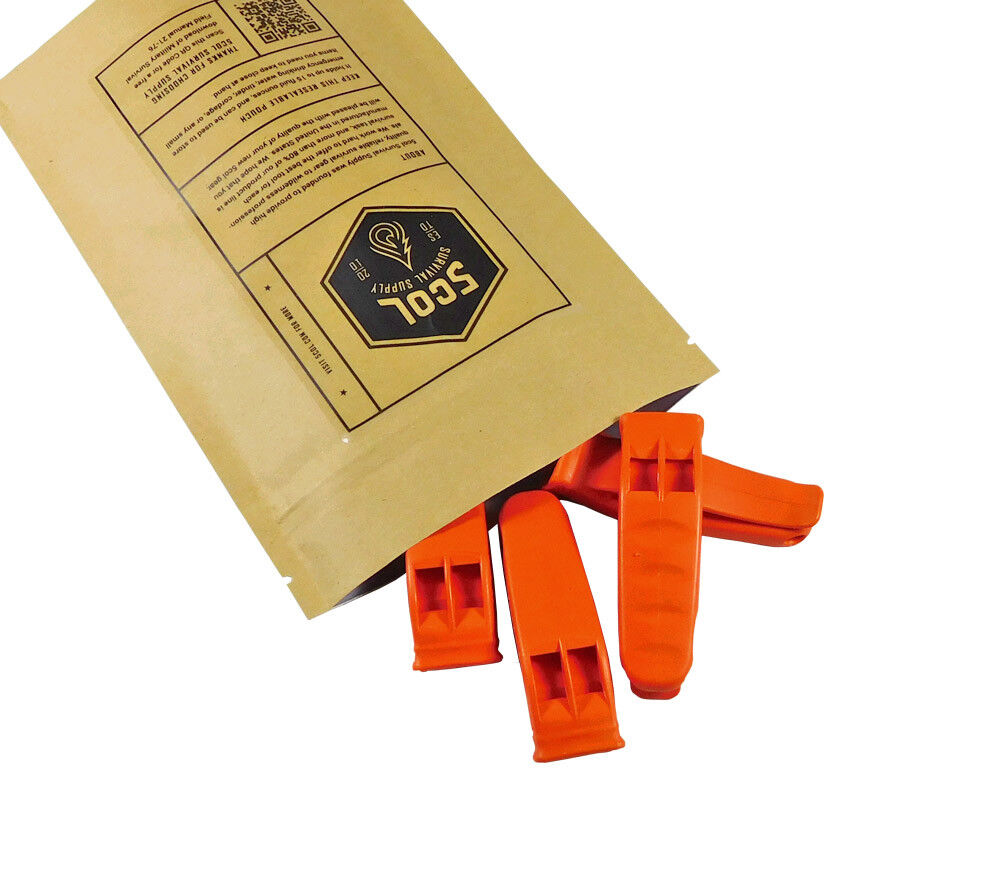 Rescue Whistle 4 Pack High Visibility Orange Emergency Survi