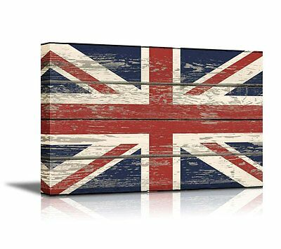 Canvas - Flag of UK / Union Jack on Vintage Wood Board Background 24
