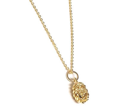 Personalized Gold Plated necklace . Pinecone Pendant  Winter Jewelry Love Nature](Pinecone Jewelry)