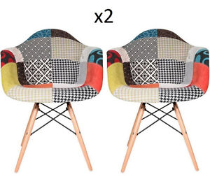 Vintage Patchwork Chair Lounge Fabric Armchair Set 2 Funky Seat Retro Wooden Leg