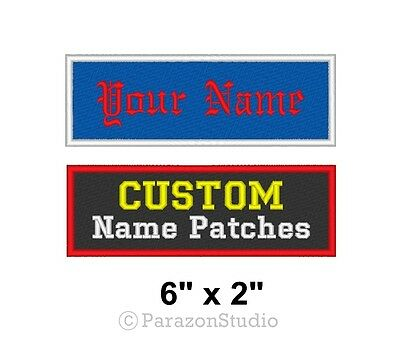 """Custom Embroidered Name Tag Sew on Patch Motorcycle Biker Badge 6"""" x 2"""" (B)"""