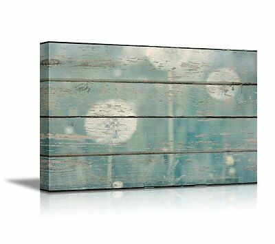 Canvas Prints Wall Art - Dandelion on Vintage Wood Board Background- 24
