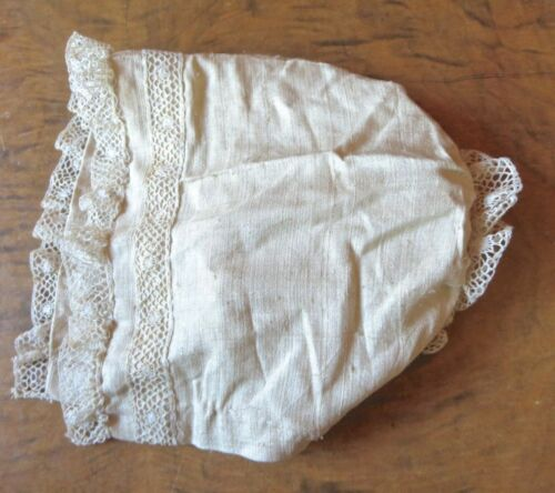 Antique Early Victorian Raw Silk & Lace Baby Hat Infant Poke Bonnet