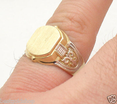 Size 7 Men's Engravable Pinky Signet Ring Real Solid 10K Yellow White Gold