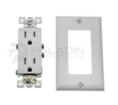 15A Amp Decora Tamper Resistant Child Safety Outlet Plug TR w/ Wall Plate White