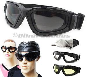 SMOKE-CLEAR-YELLOW-Lens-Motorcycle-Ski-Goggles-Foam-Padded-Men-Women-Snow-Board