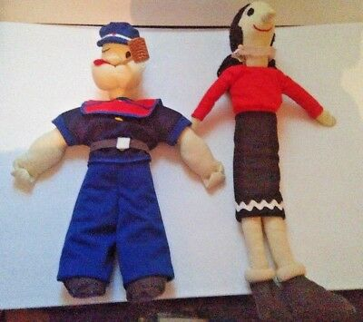 """Popeye And Olive Oil Plush Dolls 16""""Tall Good Condition Toys Cartoon Character"""