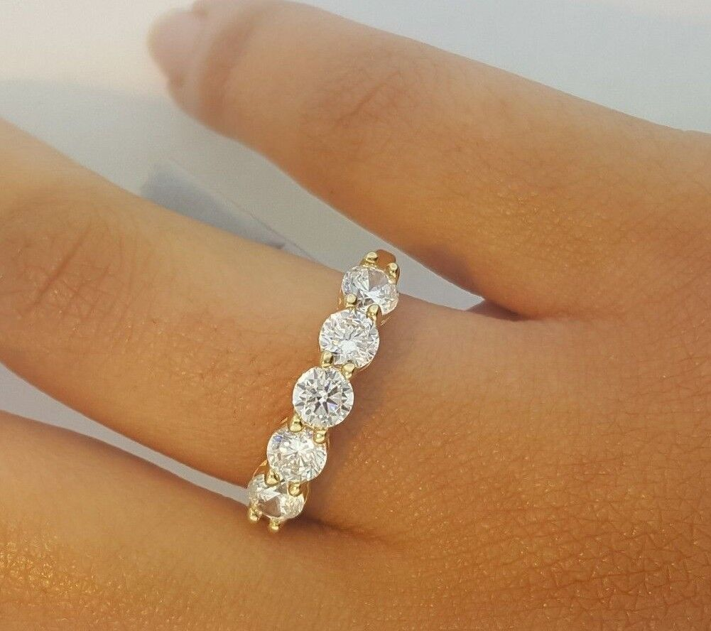 14k Solid Yellow Gold 1.25 CT Round Cut Diamond Engagement R