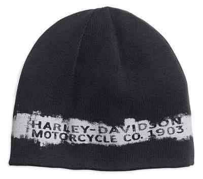 Harley-Davidson® Men's Reversible Textured Stripe Knit Beanie Hat ()