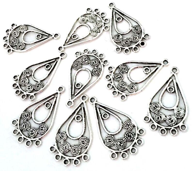 10 Pewter Chandelier Filigree Earring/Pendant Connector
