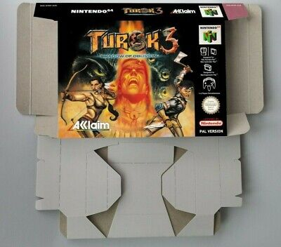 Turok 3 Shadow of Oblivion - box reproduction with insert - N64 - Pal or NTSC.