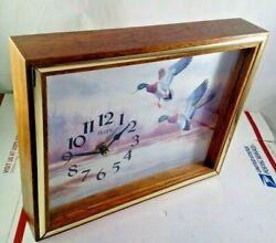 Vintage Elgin Wood Frame Shadow Box Wall Clock Ducks Landing Hunting Hunter Gift