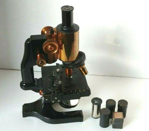 Vintage Brass Spencer Microscope No.72614 Three Objective Extras NICE