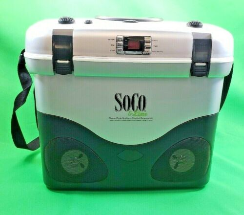 SoCo & Lime Southern Comfort Cooler w/ CD Player & Radio! Car Adapter Included!