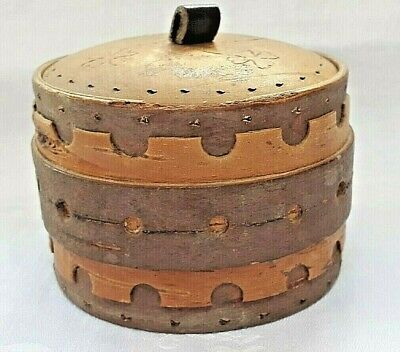 Vintage Swedish 'Näver' birch bark box with wooden lid from 1965