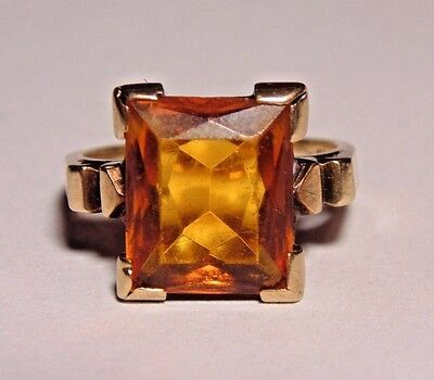 Vintage Art Deco Antique 10K Yellow Solid Gold Citrine Ring Size 6.25