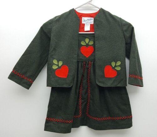 MS&Co Ellen Miklas Olive Green Heart Vintage Girl Wool Blend Dress With Jacket 4