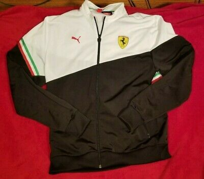 Puma Ferrari Scuderia Red Track Jacket Size LARGE Full Zip Mens Italian Sport