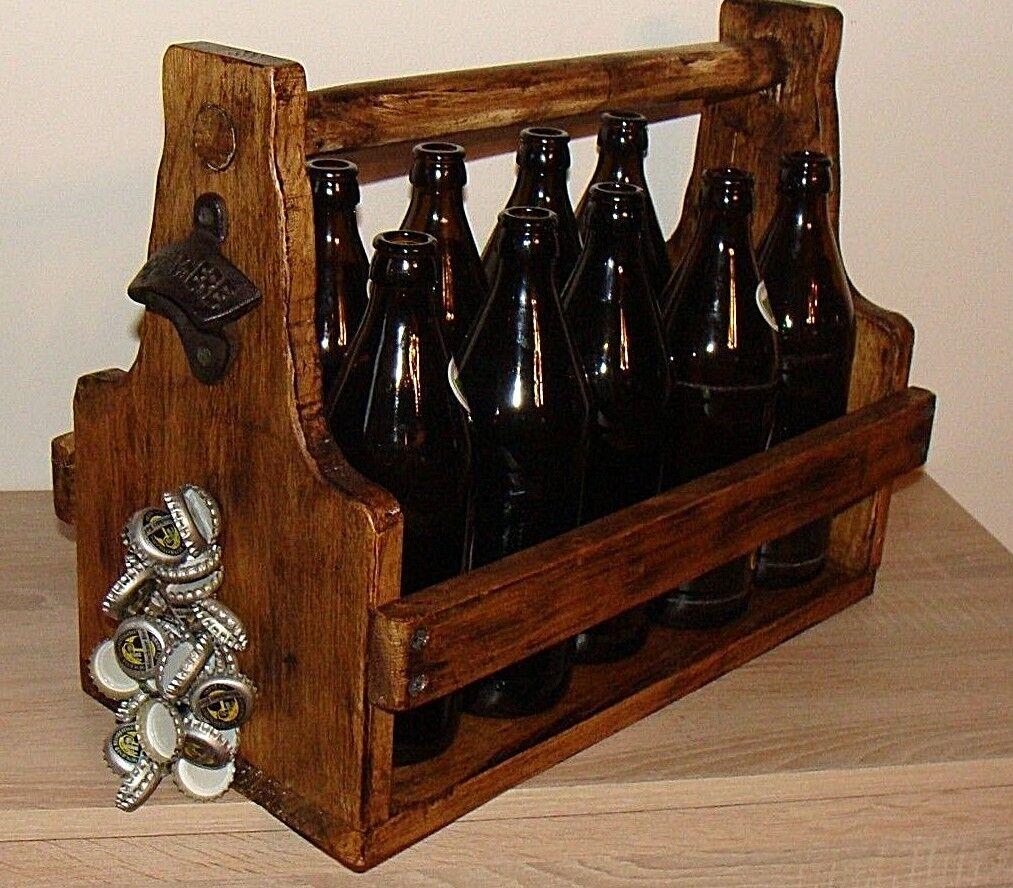Flaschenkorb Flaschenöffner Magnete Bierträger Getränkekorb Flaschenhalter  Holz
