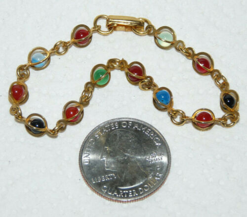 Vintage Gold Tone Multicolored Small Bead Stone Link Bracelet  I194