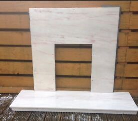 *GOOD CONDITION CREAM MARBLE EFFECT FIRE SURROUND*