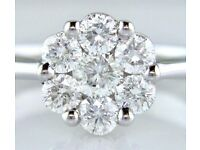 STUNNING 18ct Gold VVS Diamond Cluster Ring 0.75ct