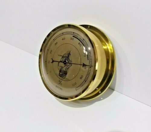 Vintage brass ships small wall thermometer (METEO) working order