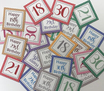 25 Small Square 3cm Sentiments 18th/21st/30th Birthday Hand Made Card Toppers