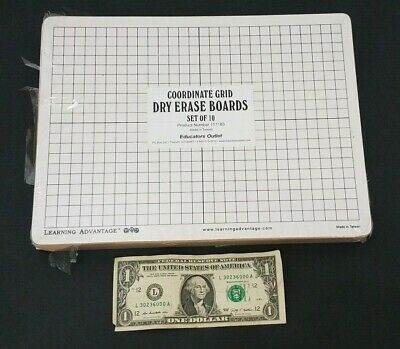 Learning Advantage - Small Dry Erase Board - Pack Of 10 - Line Grid - 9x12 Inch