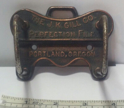 Vintage J K GILL CO PERFECTION FILE Metal Hardware Wall Mount File Hanger.