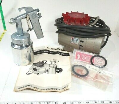 Vintage Montgomery Ward Powr-kraft Paint Sprayer With Diaphragm Pump Qbw-6300a