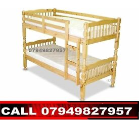 FREE DELIVERY SINGLE DOUBLE DECKER WHITE WOODEN BUNK BED FRAME
