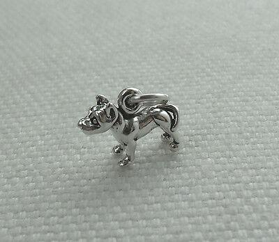 Bull terrier chien 3d petit breloque 925 argent sterling