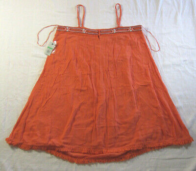 Crown & Ivy Beach Dress Salmon / Orange Cami Sun Dress Spaghetti Strap Size L