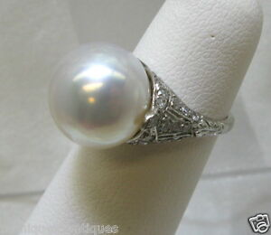 PLATINUM-ART-NOUVEAU-14MM-PEARL-DIAMOND-RING