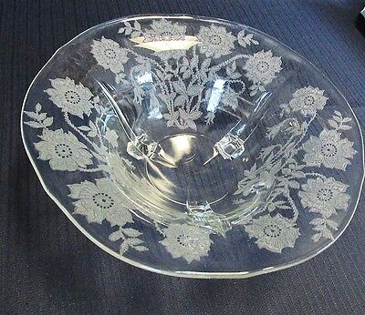 """TIFFIN CORONET ETCHED GLASS 3 FOOTED SERVING BOWL 10 3/8"""""""