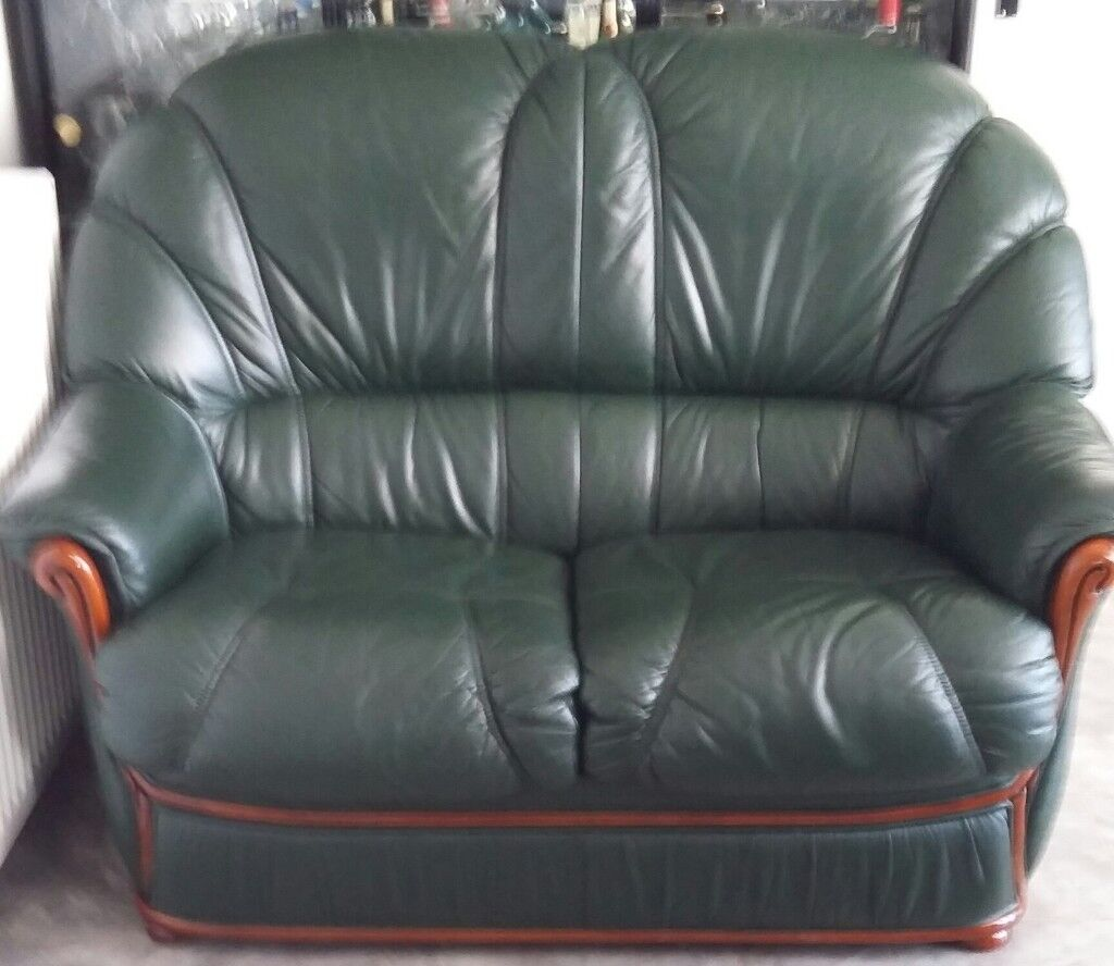 Leather sofa, dark green, 2 seater