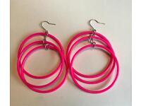 Neon pink earrings