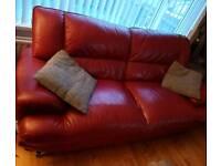 Leather 3&2 suite plus footstool