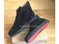 Christian Louboutin High Top Suede Loubs Trainers Shoes Mens Boys Footwear Size 10-11 Only