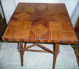 """Vintage Bamboo Decorative Table, 21.5"""" x 21.5"""" top, 26"""" high (545 x 545mm x 660 mm high)"""
