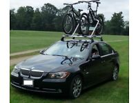 genuine BMW 3 servies roof bars and 3 cycle carriers 2005 to 2011 E90 saloon