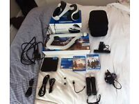 Original PSVR, 2 Move Controllers, Aim controller, Camera, 2 games and demo disc