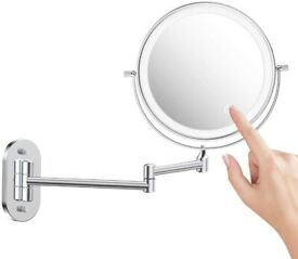 Wall Mounted Makeup Mirror with 3 Color Modes, 5X Magnifying LED Mirror, Upgrade 0.5h Auto Off